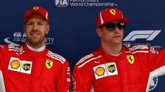 Kimi Raikkonen, junto a Vettel en un podio | Ferrari | Fórmula 1 | F1 2018. (Getty)