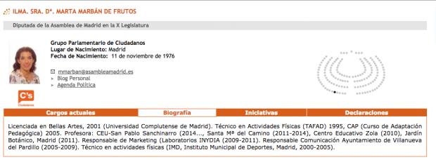 Ficha parlamentaria de Marta Marbán en la Asamblea de Madrid.