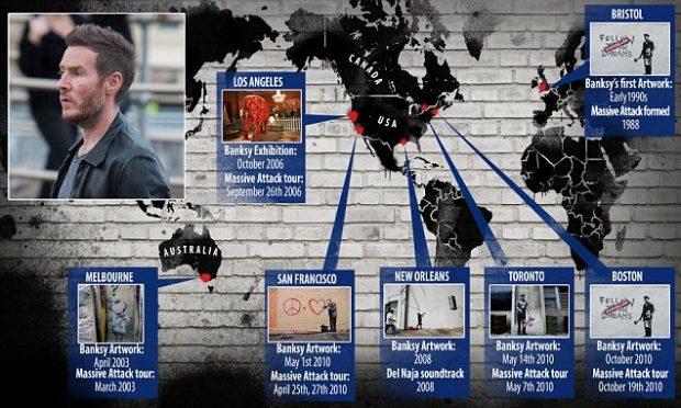 Algunas de las paradas de las giras de Massive Attack coinciden con lugares donde han aparecido Banksys originales.