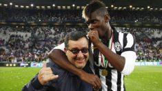 Raiola y Pogba se ríen en su etapa en la Juventus.