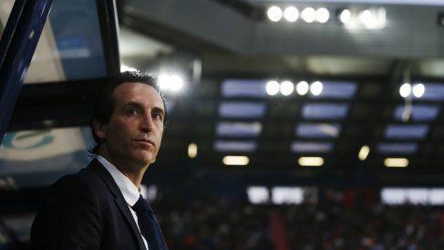 Emery, durante un partido del PSG de esta temporada. (AFP)