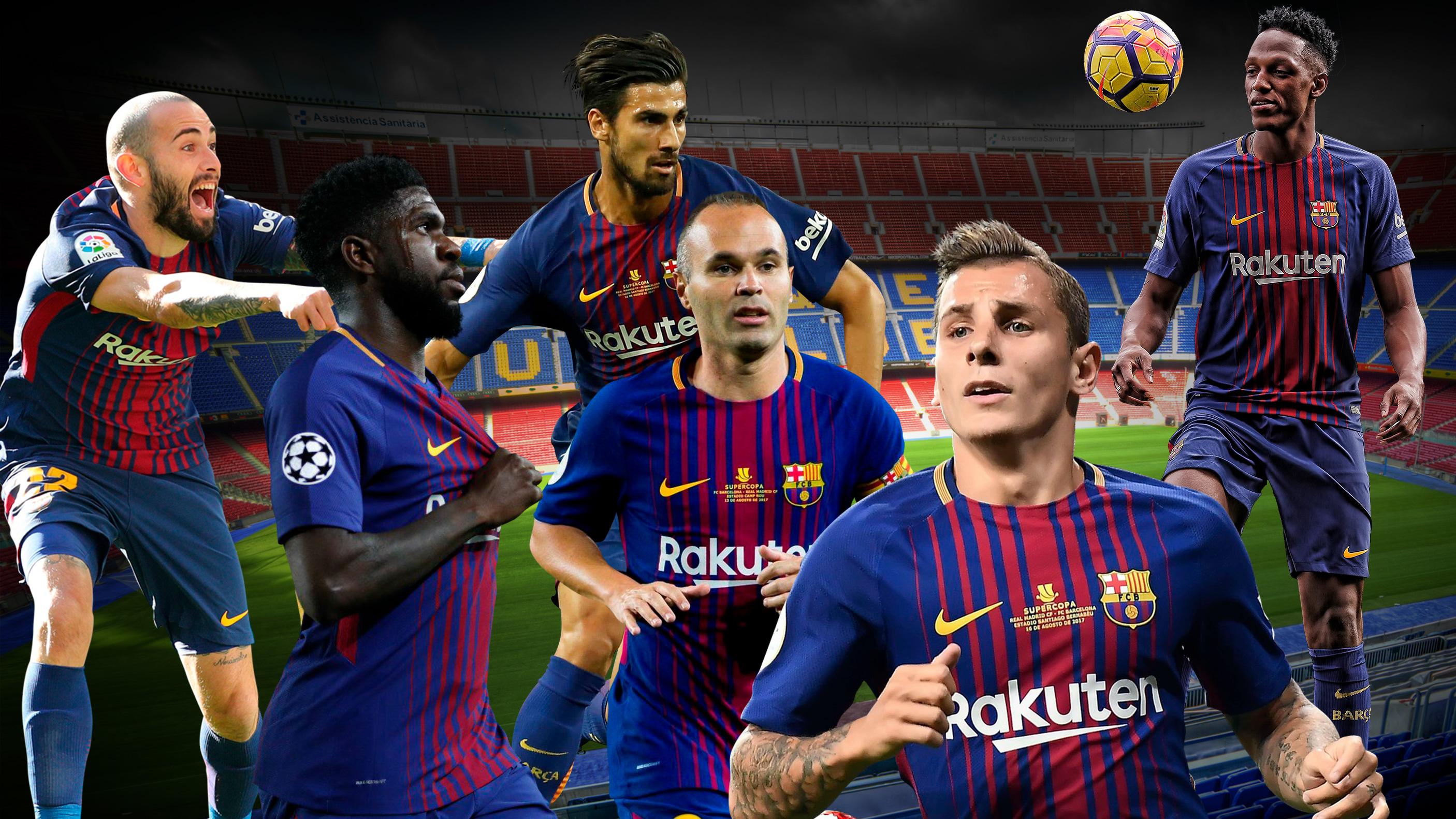 Los jugadores del Barcelona que están en la rampa de salida.
