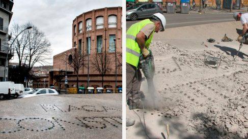 Destruyen a golpe de taladradoras las letras de la plaza de la Constitución de Gerona