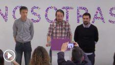 Errejón, Iglesias y Espinar en rueda de prensa.