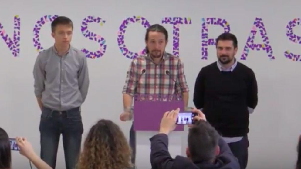 Errejón, Iglesias y Espinar en rueda de prensa