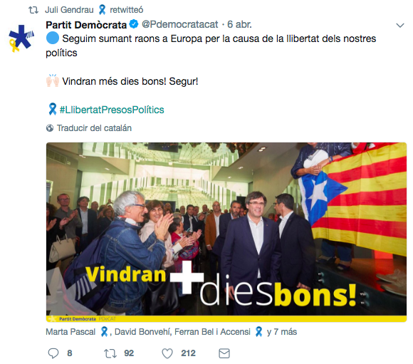 Gendrau y sus mensajes en respaldo del prófugo Puigdemont