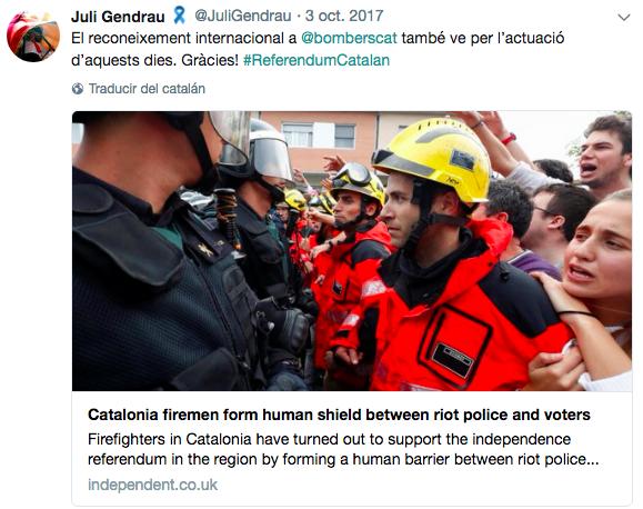 Gendrau respaldó la actuación de los 'Bombers per la republica'