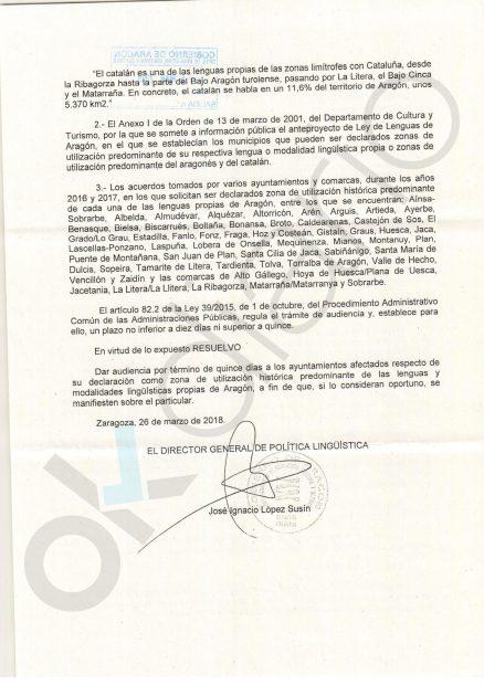 Lambán envía cartas a sus alcaldes para imponerles la dictadura del catalán