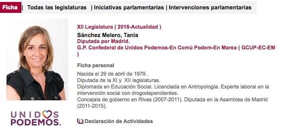 Ficha parlamentaria de Tania Sánchez en el Congreso de los Diputados.