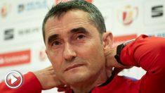Ernesto Valverde, durante la rueda de prensa previa a la final de Copa del Rey Sevilla – Barcelona. (EFE)