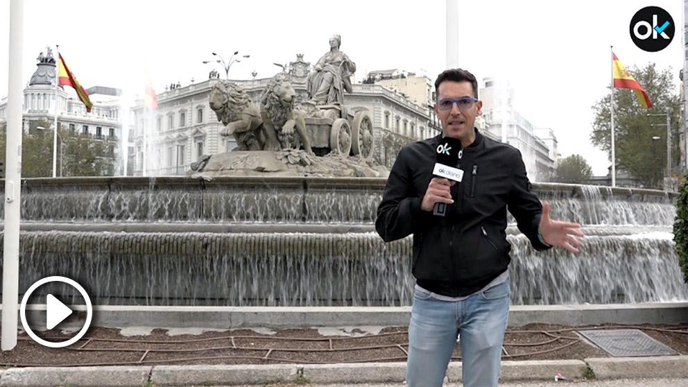 La Fuente de Cibeles no está vallada el día de la final de la Copa del Rey entre el Sevilla y el Barcelona. (vídeo: Enrique Falcón)
