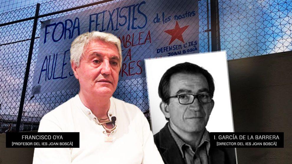 El presidente de Profesores por el Bilingüismo, Francisco Oya, y el director del IES Joan Boscà de Barcelona, Ignacio García de la Barrera, que ha instado la persecución contra él.