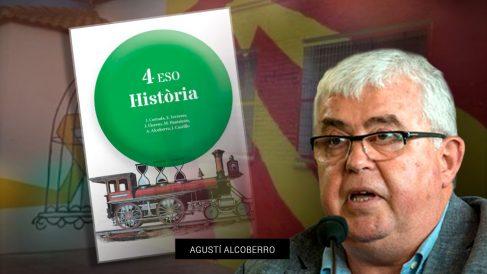 El vicepresidente de la ANC, Agustí Alcoberro, junto a la portada de su libro de texto de Historia para 4º de ESO publicado por la Editorial Teide.