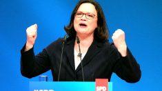 Andrea Nahles este domingo en el congreso del SPD (Foto: AFP).