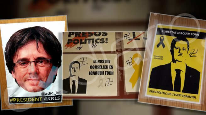 Las fotos de Puigdemont y Forn pintadas con esvásticas y bigotes nazis en Interior