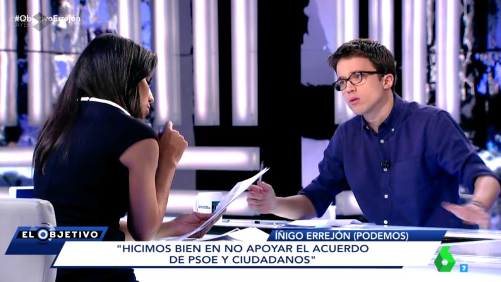 'Iñigo Errejón esta noche en 'El Objetivo'. (Foto: LaSexta)