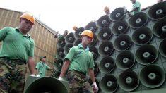 Altavoces propagandísticos en la frontera de Corea del Norte y Corea del Sur