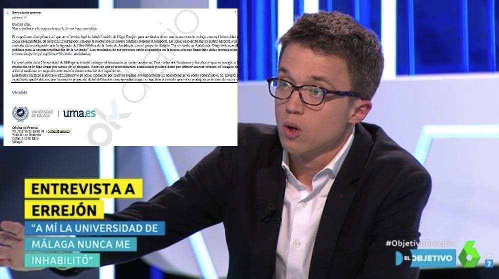 Íñigo Errejón negando que la U. de Málaga le haya inhabilitado.