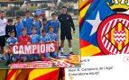 El equipo alevín del Girona celebra su título de liga con una estelada
