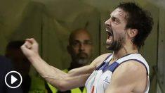 Sergio Llull celebra su canasta sobre la bocina ante el Barcelona de la pasada temporada. (EFE)