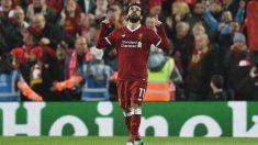 Salah celebra un gol a la Roma. (AFP)
