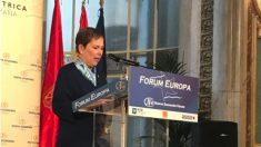 La presidenta del Gobierno de Navarra, Uxue Barcos, en el Nueva Economía Fórum. | ETA