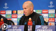 Zidane atiende a los medios en rueda de prensa antes del partido contra el Bayern.