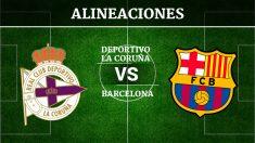 Consulta las posibles alineaciones del Deportivo de la Coruña vs Barcelona.