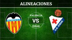 Consulta las posibles alineaciones del Valencia vs Éibar.