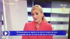 Cristina Cifuentes en Telemadrid en 2012 hablando de robos en supermercados
