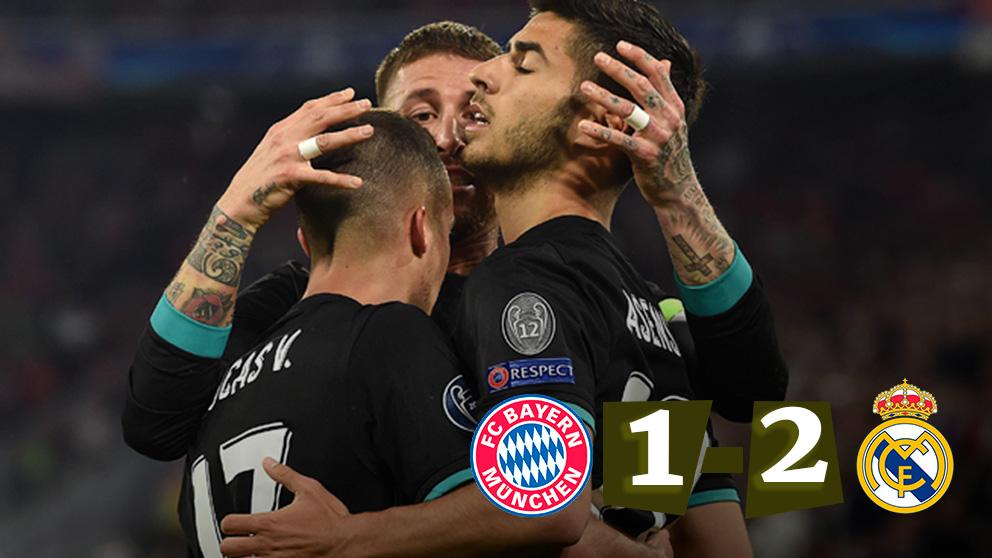 Los jugadores del Real Madrid celebran el 1-1 ante el Bayern | Champions League. (AFP)