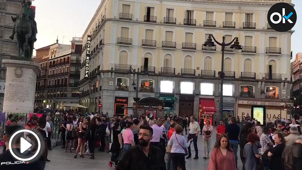Manifestación de Podemos en Sol contra Cifuentes.