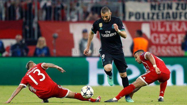 Benzema, durante el Bayern - Real Madrid (www.realmadrid.com).