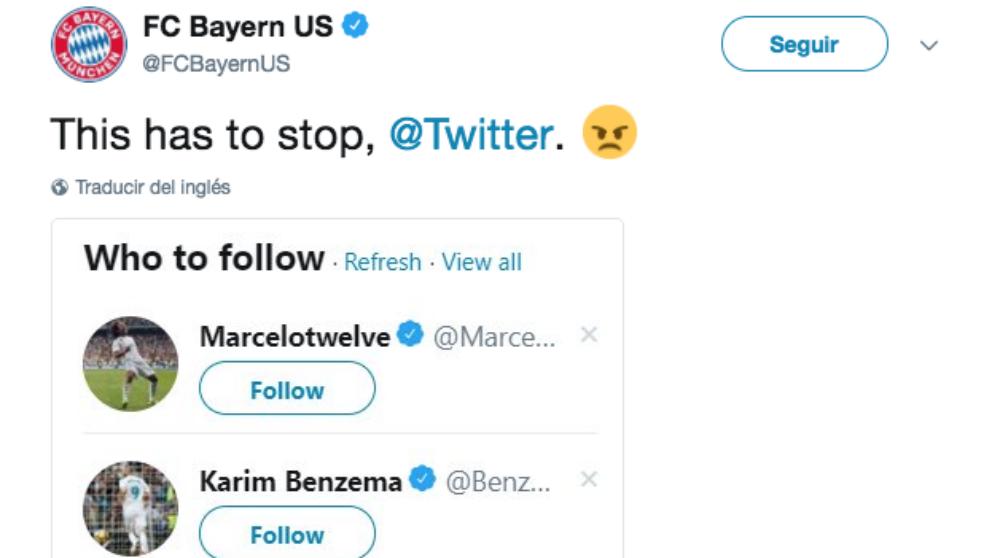 El Bayern se indigna con Twitter por recomendarle seguir a Marcelo y Benzema.