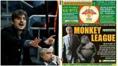 Dimitris Giannakopoulos, presidente de Panatinaikos, y la polémica portada de su periódico. (Fotos: Getty Images y Twitter)
