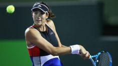 Gabiñe Muguruza, en un partido del torneo de Miami. (AFP)