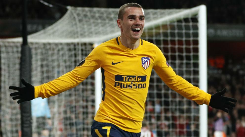 Griezmann celebra su gol en el Arsenal – Atlético Madrid. (AFP)
