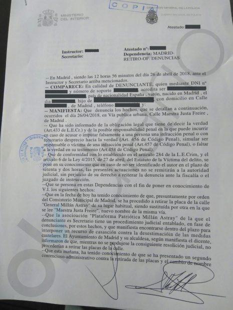 Nueva denuncia contra Carmena por delito de odio y prevaricación por el cambio de calles