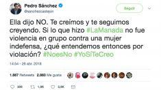 Tuit de Pedro Sánchez sobre la sentencia de 'La Manada'.