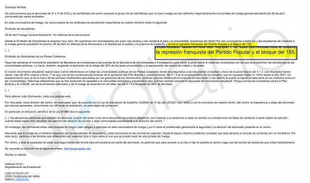 Correo del sindicato separatista SEPC remitido a los institutos de Cataluña