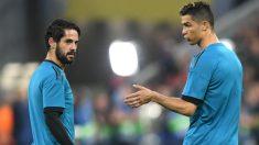 Isco y Cristiano calientan antes del Bayern-Real Madrid. (AFP | Champions League