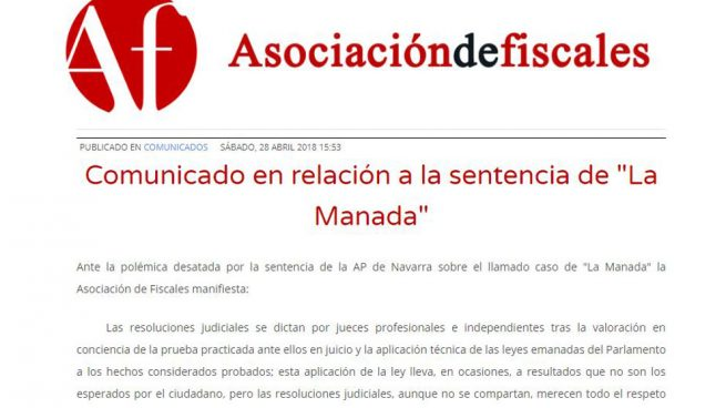 La Asociación de Fiscales critica la «desproporcionada» respuesta a la sentencia de La Manada