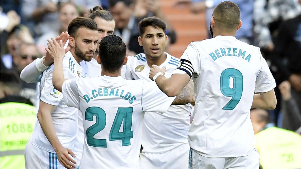 Los jugadores del Real Madrid celebran un gol ante el Leganés. (AFP)   Barcelona – Real Madrid   Clásico