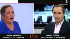 Los periodistas Mayka Navarro (La Vanguardia) y Carlos Cuesta (OKDIARIO), este sábado en TV3.