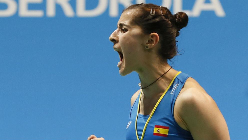 Carolina Marín celebra un punto en el campeonato de Europa disputado en Huelva. (EFE)