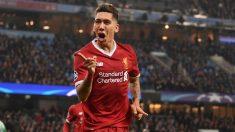 Roberto Firmino celebra un gol con el Liverpool. (Getty)