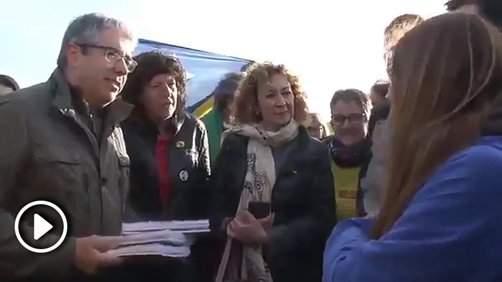 Francesc Homs (PDeCAT) y ester Capella (ERC), en la concentración ante la cárcel de Estremera de 'Kms por la libertad' a favor de los golpistas presos.
