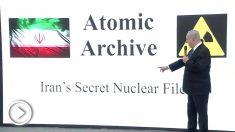 Benjamin Netanyahu, en la presentación de las pruebas que tiene Israel sobre el programa nuclear bélico de Irán.