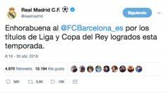 El tuit publicado por la cuenta oficial del Real Madrid.