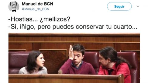 Íñigo Errejón, desconsolado ante la noticia de que la familia podemita crece.